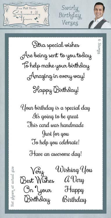 Sentimentally Yours Clear Stamp Set Classic - Swirly Birthday Verses