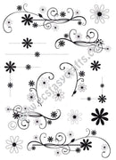 Creative Expressions: Dainty Daisies Flourishes & Corners A5 Clear