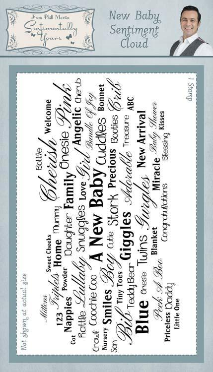 Sentimentally Yours New Baby Sentiment Cloud 4 x 8 Rubber Stamp