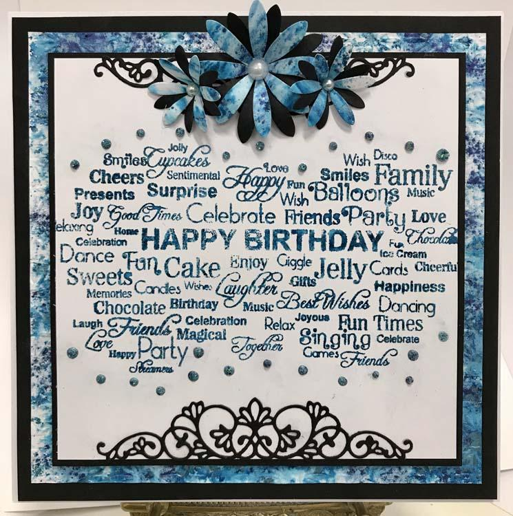 Sentimentally Yours Birthday Sentiment Cloud 4 x 8 Rubber Stamp