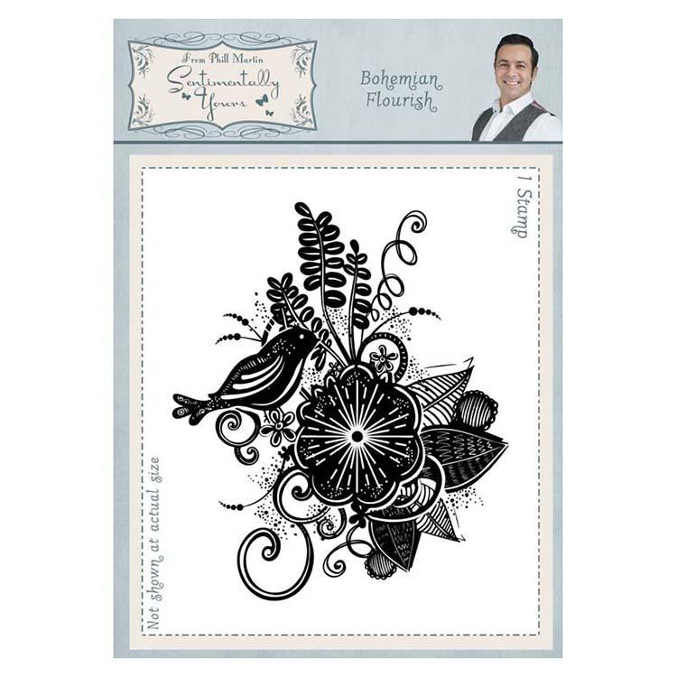 Sentimentally Yours Bohemian Flourish A6  Rubber Stamp