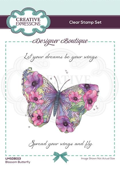 Designer Boutique Collection Blossom Butterfly A6 Clear Stamp