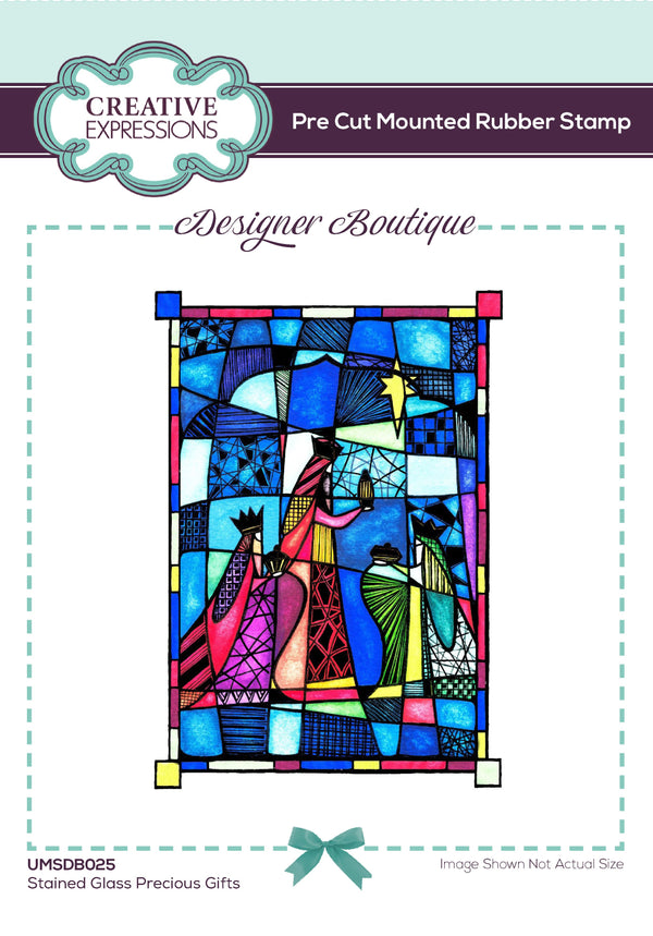 Designer Boutique Collection Stained Glass Precious Gifts 6 x 4 inPre Cut Rubber Stamp