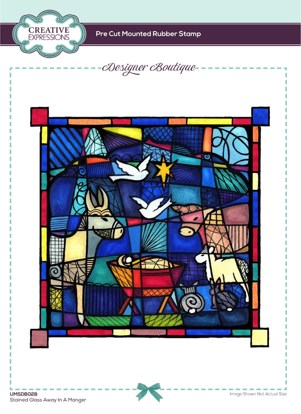 Designer Boutique Collection Stained Glass Away In a Manger 5 x 5 in Pre Cut Rubber Stamp
