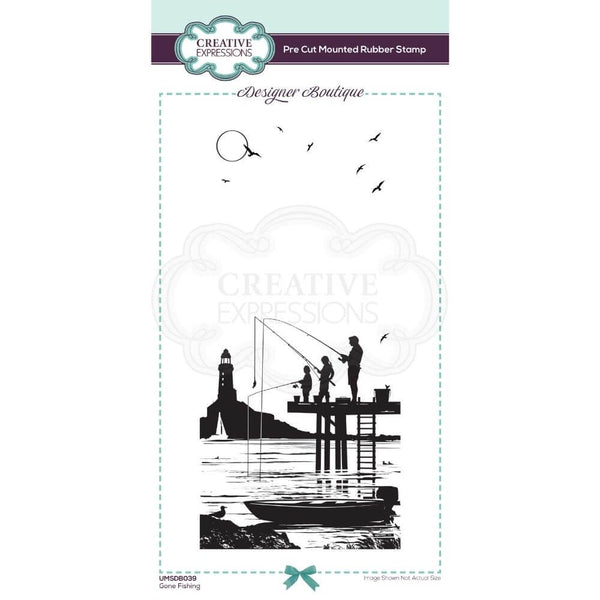 Designer Boutique Collection Gone Fishing DL Pre Cut Rubber Stamp