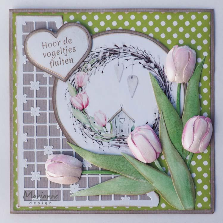 Marianne Design Cutting Sheets Tulips & Willow Cats