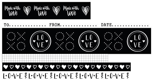 Washi Tape Black/White Filled With love 6 RLnr.18