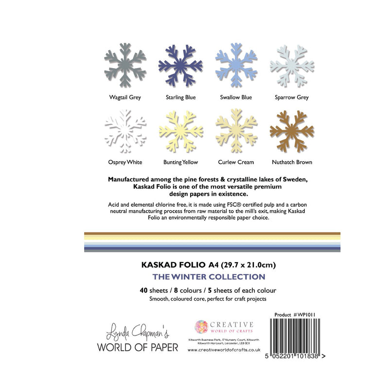 Kaskad Folio Winter Collection A4 225gsm Coloured Core Cardstock 40 sheets