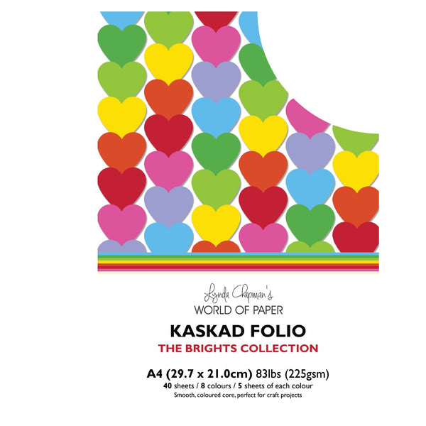 Kaskad Folio Brights Collection A4 225gsm Coloured Core Cardstock 40 sheets