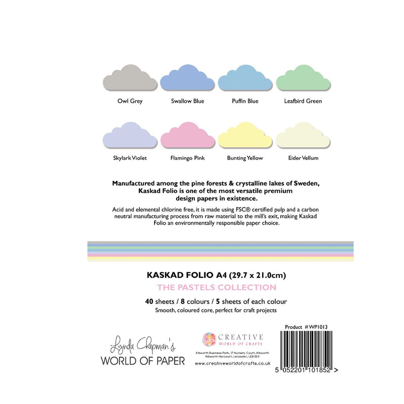 Kaskad Folio Pastels Collection A4 225gsm Coloured Core Cardstock 40 sheets