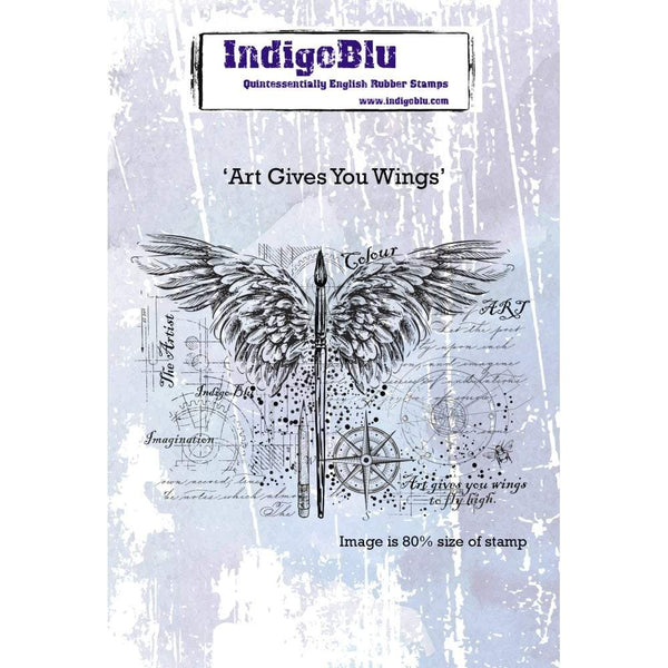 Art Gives You Wings A6 Red Rubber Stamp