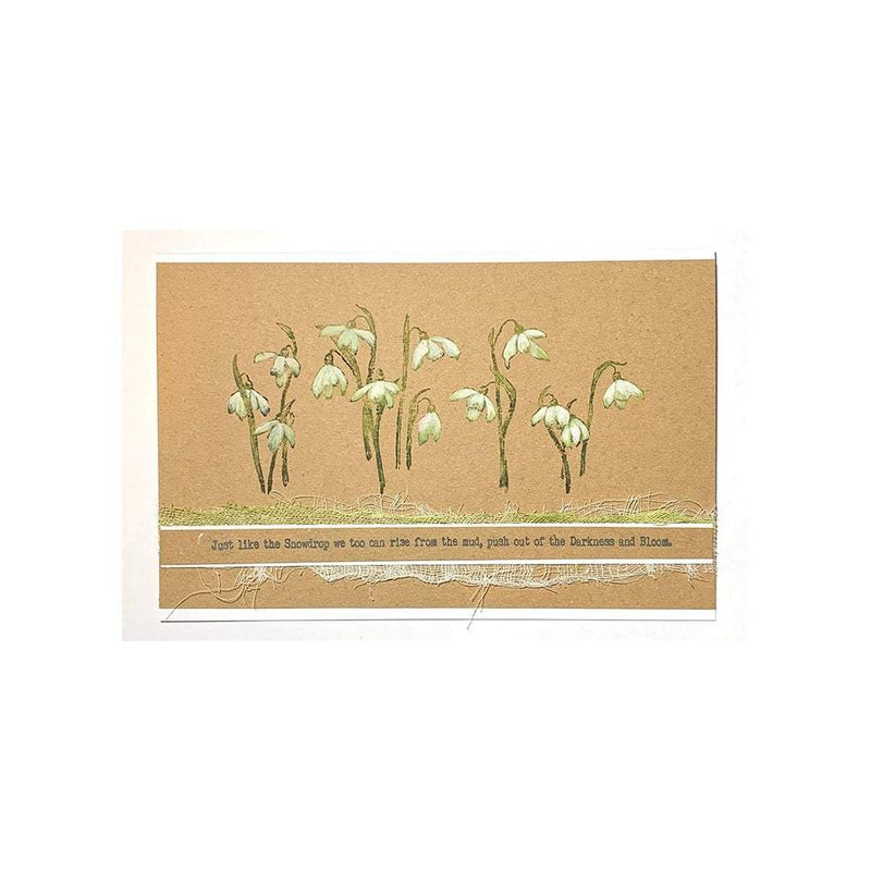 Delicate Snowdrops DL Red Rubber Stamp