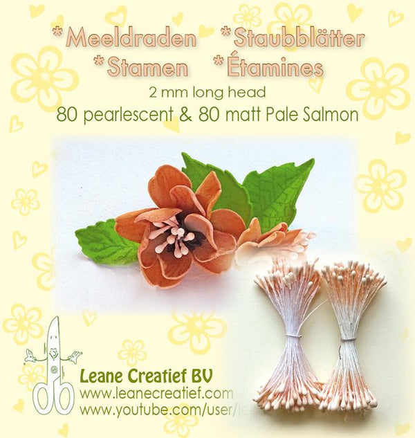 Stamen 2mm, 80 Matte & 80 Pearl Pale Salmon