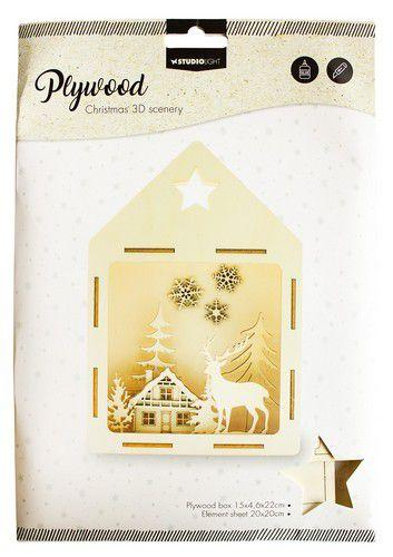 SL 3D Scenery Deer in the forest Plywood 150x46x220mm  nr.13