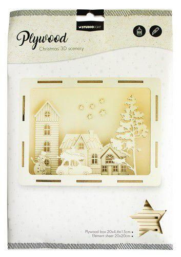 SL 3D Scenery Driving winter street Plywood 200x46x150mm  nr.15