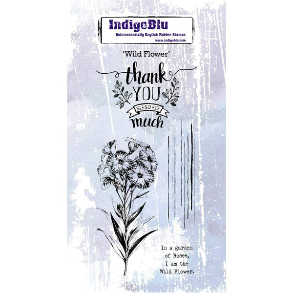 Tall Flower DL Red Rubber Stamp
