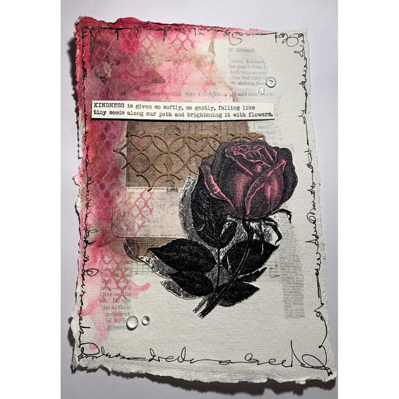 Vintage Rose A6 Red Rubber Stamp