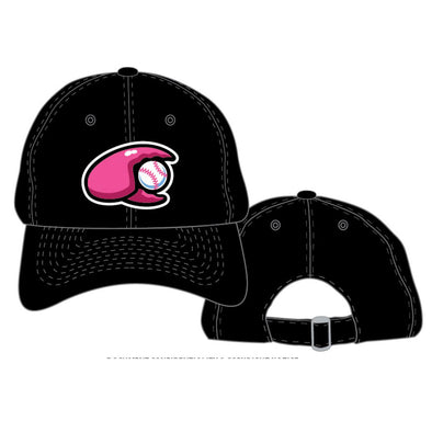 Hickory Crawdads Black with Pink Claw Adjustable Hat