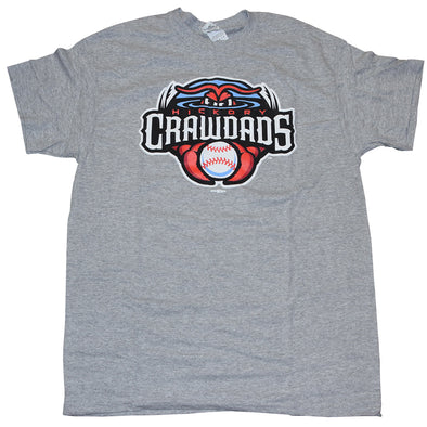 Hickory Crawdads Grey Primary Tee