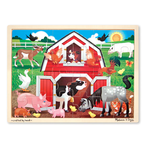 Pets, Barnyard, Dinosaur  Wooden Jigsaw Puzzle - 24 Pieces