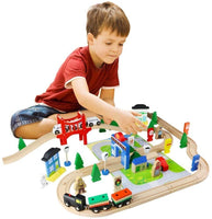 WOODEN TRAIN SET - MY BUSY TOWN (80Pcs)