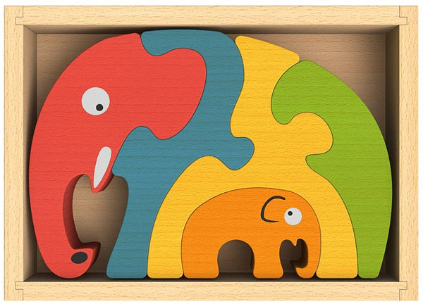 Elephant Family Wooden Puzzle