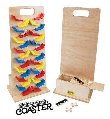 Double Clickity Clack Coaster Wood- Primary, Pastel