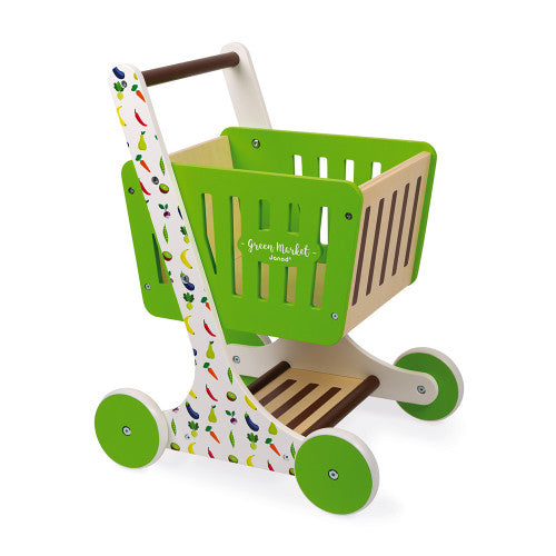 MARKET SHOPPING TROLLEY GREEN (WOOD)