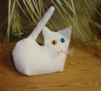 White  Velvet Kitten - Handmade in CANADA