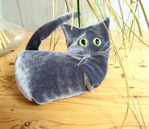Grey Velvet Kitten - Handmade in CANADA