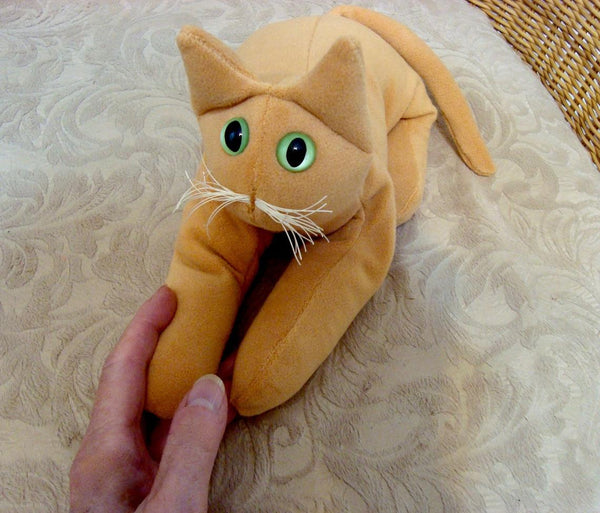 Ginger orange Velvet cat - Handmade in CANADA