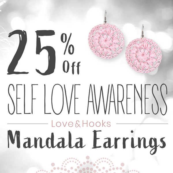 Self Love Awareness Mandala Earrings Handmade - 25% Off - Special Promotion