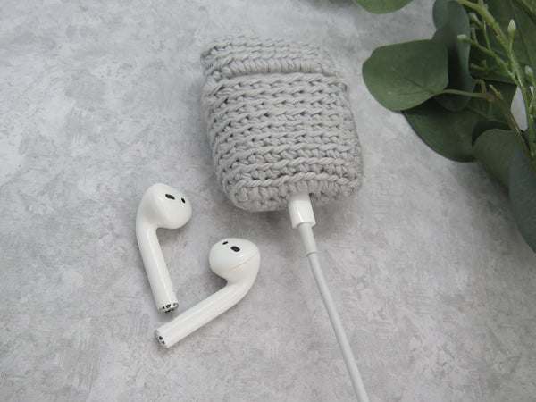 Love and Hooks Crochet AirPods Case Light Gray 100% Cotton