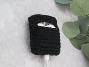 Love and Hooks Crochet AirPods Case Black 100% Cotton