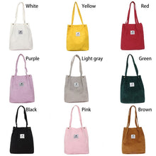 Load image into Gallery viewer, Women Solid Corduroy Tote