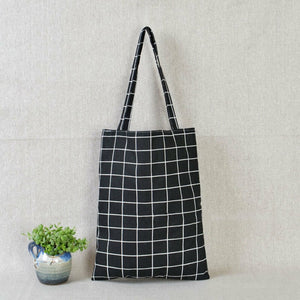 Casual Plaid  Linen Tote Bag