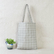 Load image into Gallery viewer, Casual Plaid  Linen Tote Bag