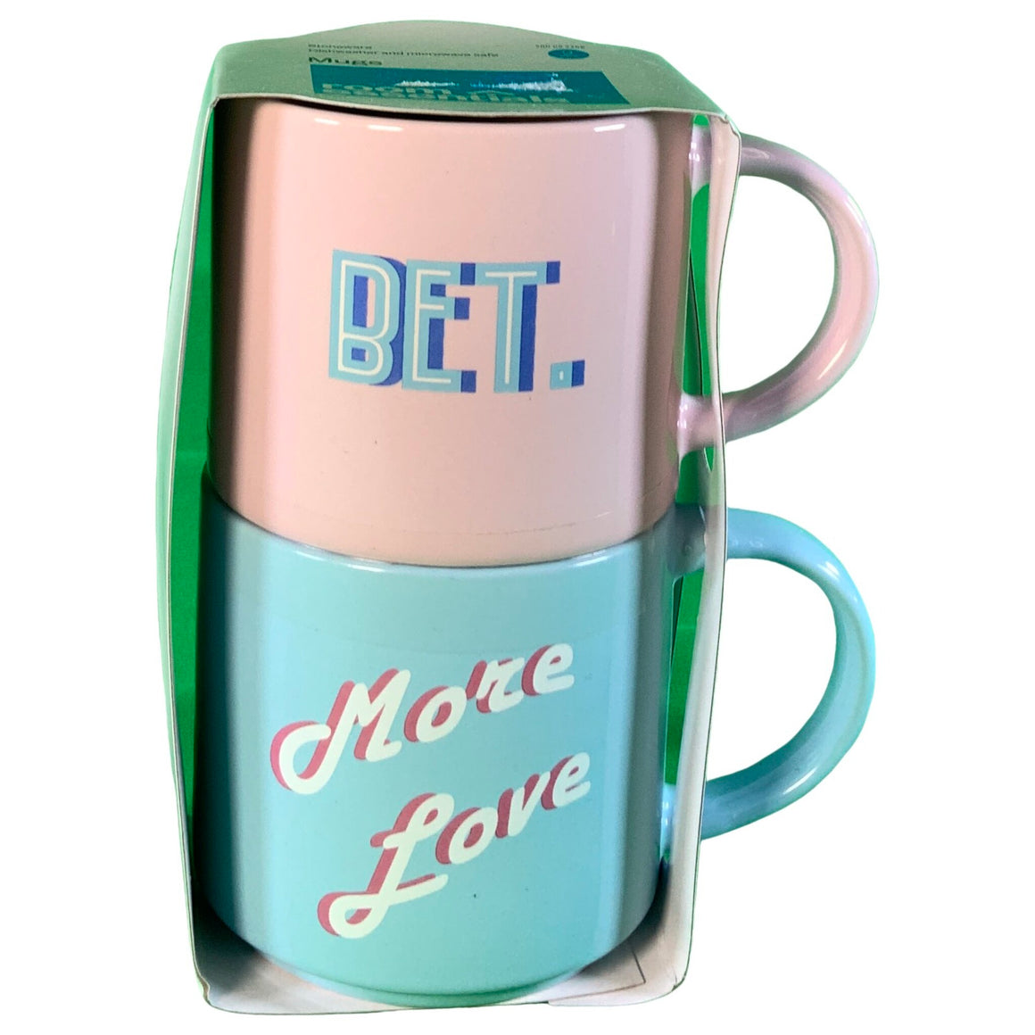 15Oz 2Pk Stoneware Bet And More Love Mugs Pink/Blue - Room Essentials™