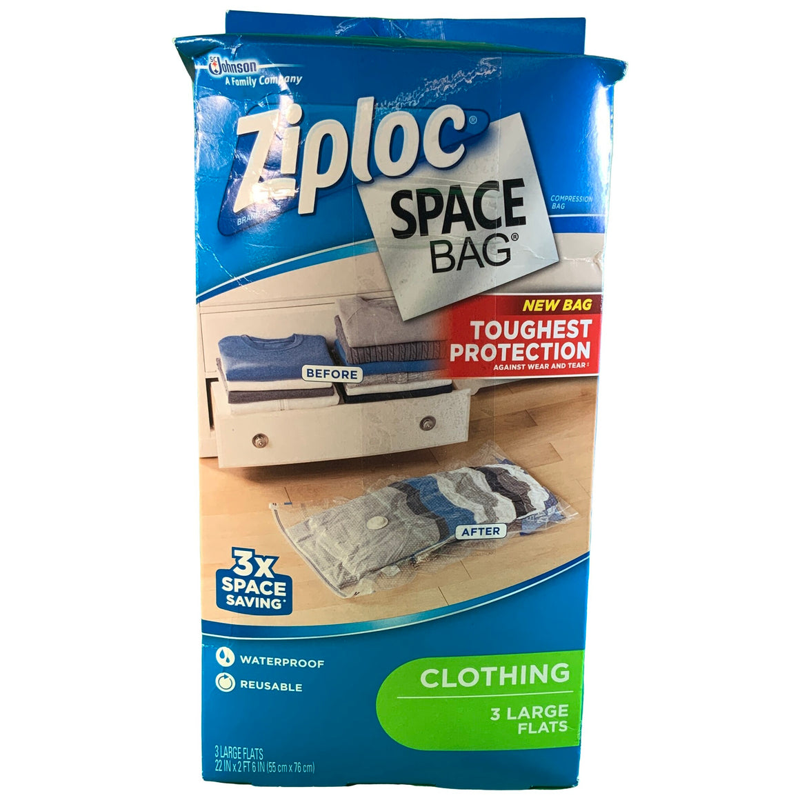 Ziploc Space Bag, Flat, Large, 3 Count - Ziploc