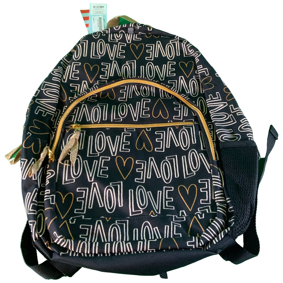 "17"" Love Print Kids' Backpack Black/Gold - Cat & Jack™"