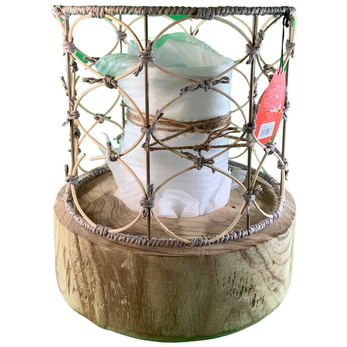 "13"" Outdoor Lantern Wood & Woven - Opalhouse™"