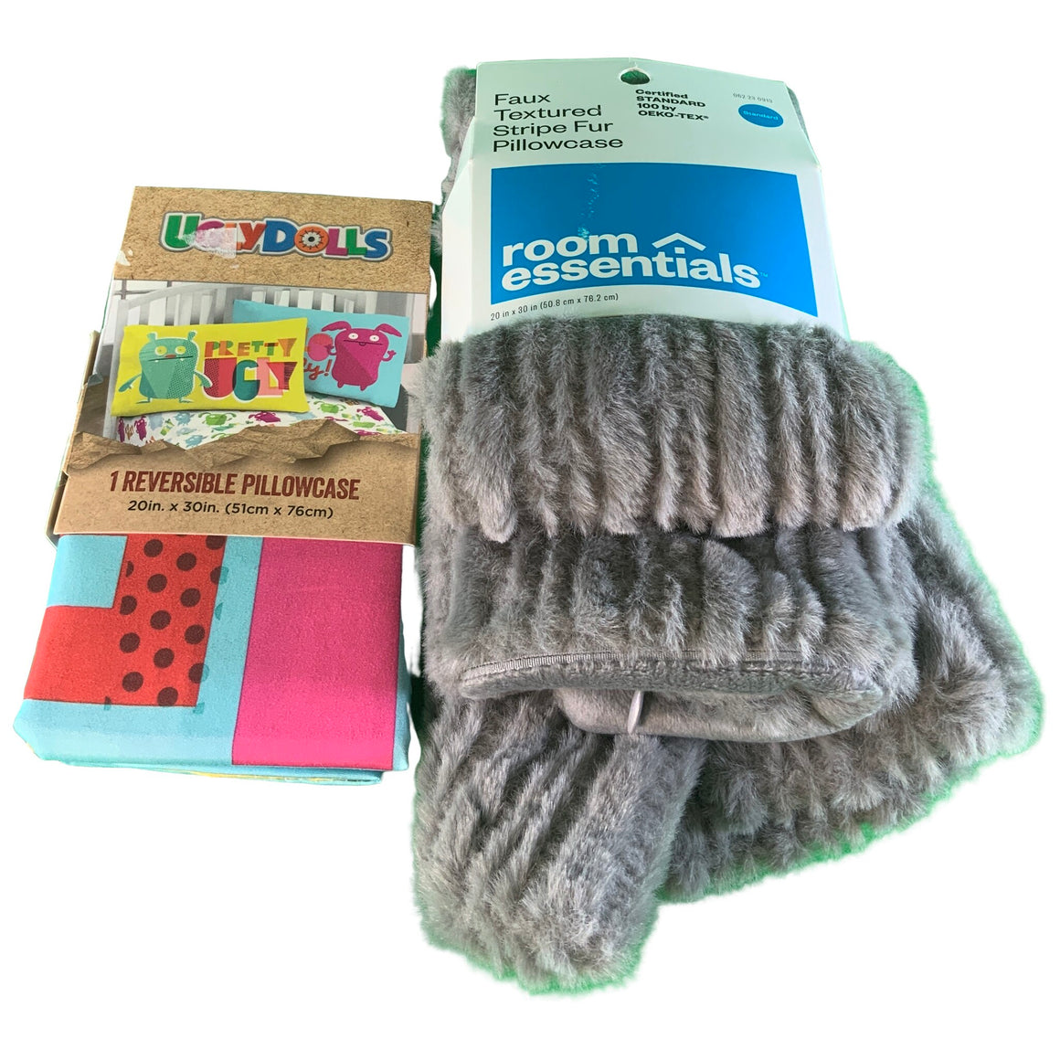 Reversible Pillowcase & Standard Striped Faux Fur Pillowcase - Uglydolls & Room Essentials™