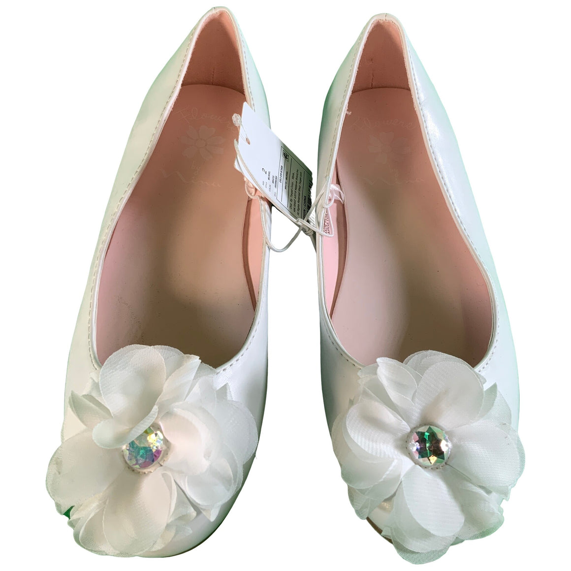 Girls' Dressy Ballet Flats - White 2 - Flowers By Nina Muriel