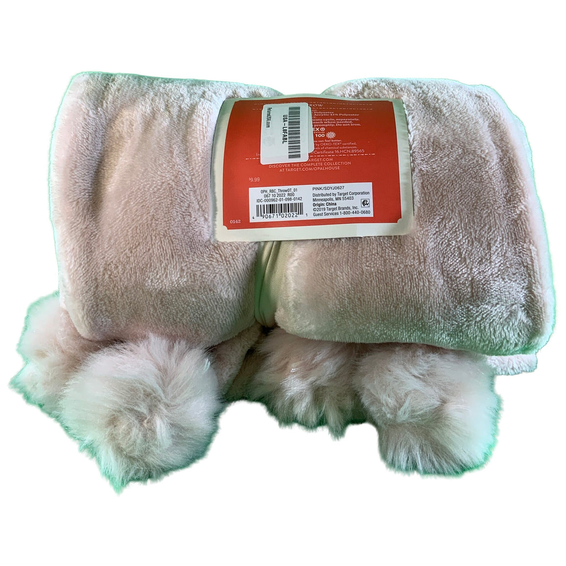 Solid Plush With Faux Fur Poms Throw Blanket - Opalhouse