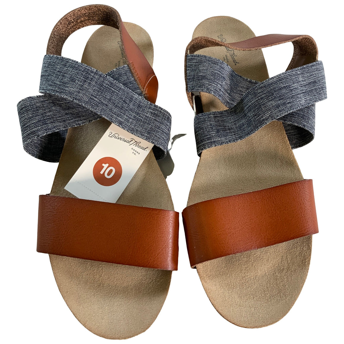 Kerryn Elastic Strap Footbed Slide Sandals - Cognac 10 - Universal Thread™
