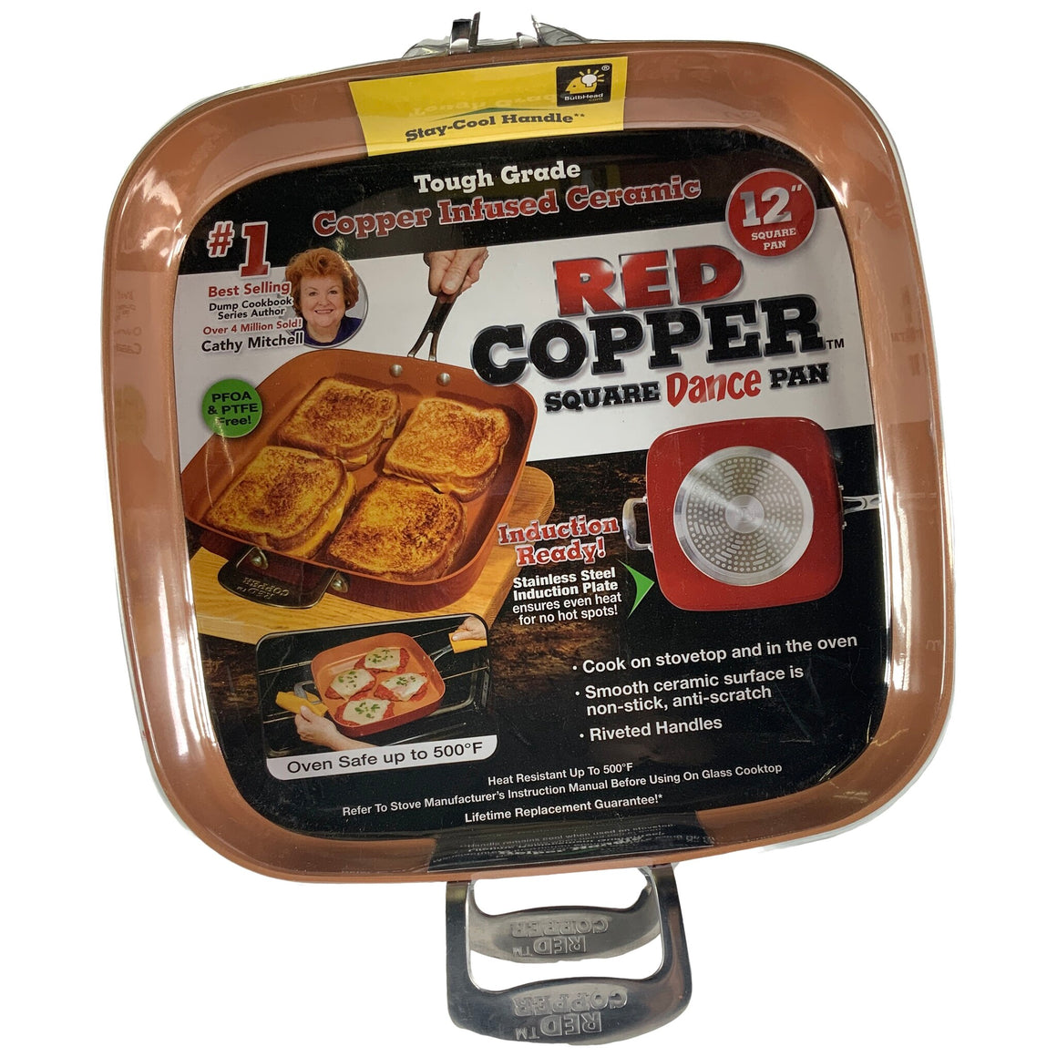 "Red Copper - 12"" Copper Infused Ceramic Square Pan"
