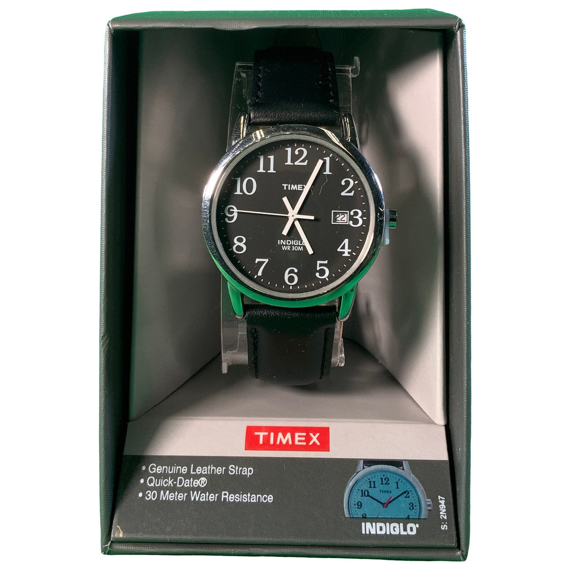 Men'S Watch With Leather Strap - Black - Timex