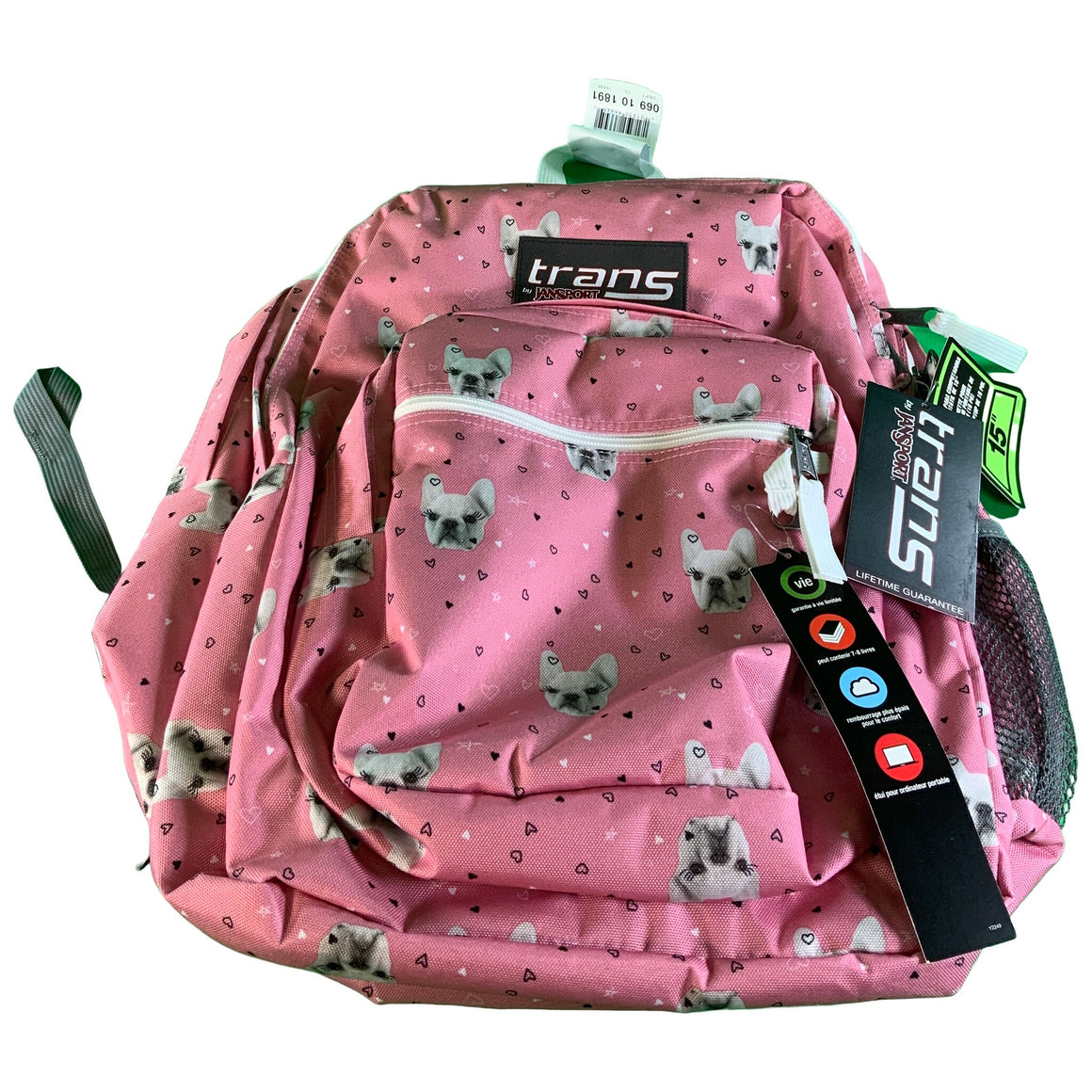 "17"" Supermax Backpack - Fierce Frenchies - Trans By Jansport"