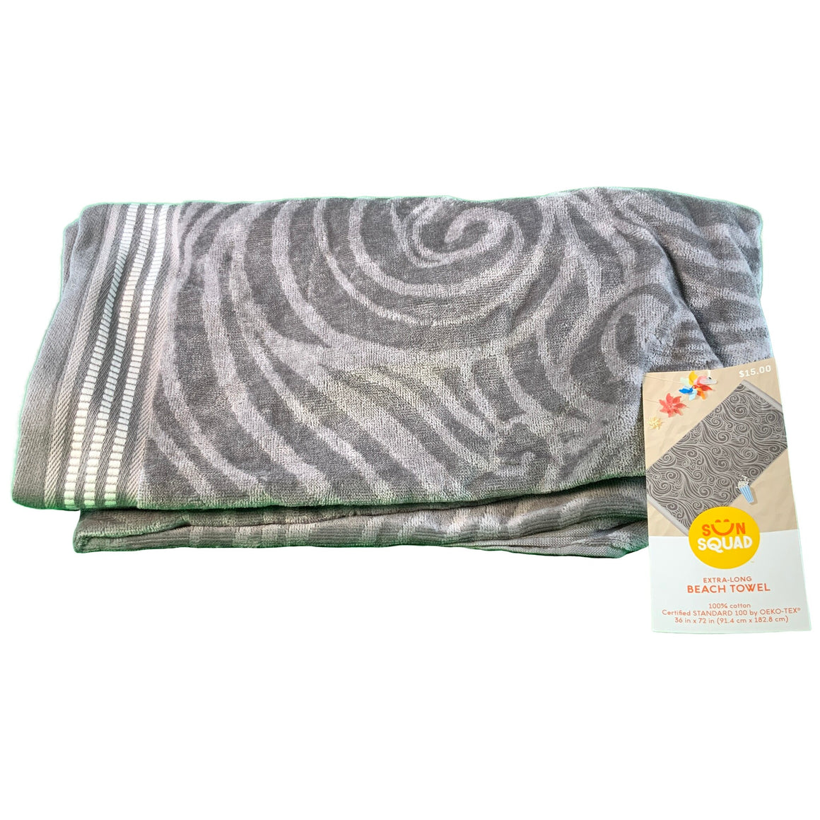 Xl Wave Beach Towel Gray - Sun Squad™