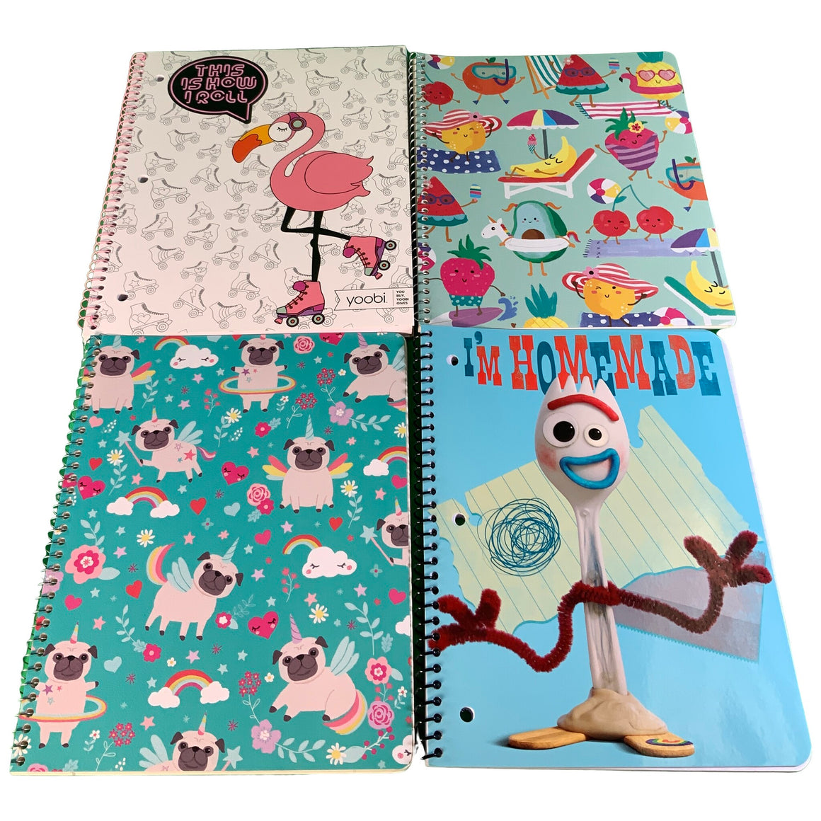 1 Subject Notebook - I'M Homemade & 1 Subject Notebook - Dog Unicorn & 1 Subject Notebook - Fruit Vacation & Spiral Notebook, College Ruled - This Is How I Roll Flamingo - Yoobi & Greenroom & Innovative Designs